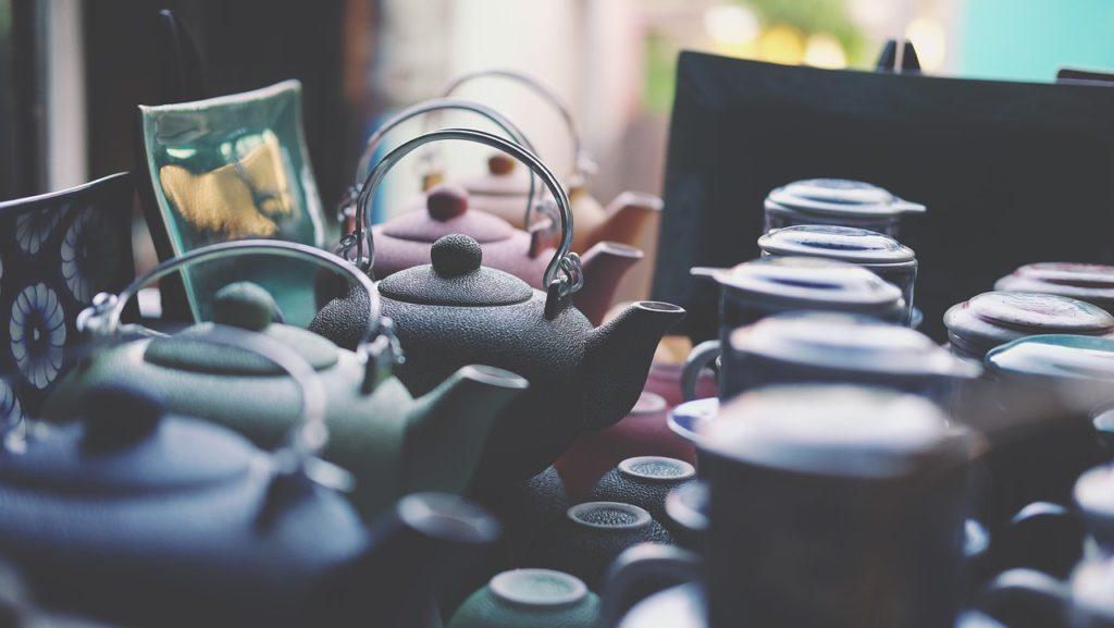 Tea pots, cups, and other ceramics