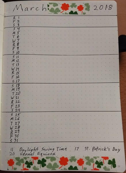 Bullet Journal for March